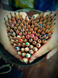 heart shape pencils Royalty Free Stock Photos