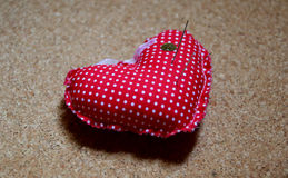 Heart shape. Pillow for brooches in heart shape Royalty Free Stock Photos
