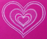 Heart shape on pink background. Artistic illustration of a heart shape outlined in white on a pink background but with internal copies and dotted areas vector illustration