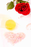 Heart shape pink bath salt close up Royalty Free Stock Photo