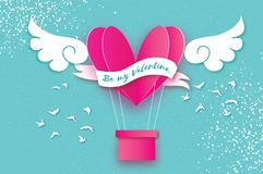 Heart shape Pink hot air balloon flying. Love in paper cut style. Origami heart and angel wings. Winged heart. Happy. Valentine day. Ribbon tape for text. Birds Stock Photo
