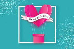 Heart shape Pink hot air balloon flying. Love in paper cut style. Origami Valentine day. Ribbon tape for text. Square. Frame on sky blue. Romantic Holidays. 14 Royalty Free Stock Photography