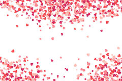 Heart shape pink and red confetti vector Valentines Day background. Heart shape pink and red confetti, vector Valentines Day background Stock Photos