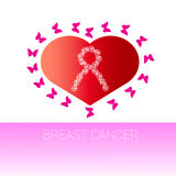 Heart Shape With Pink Ribbon Breast Cancer Awareness Royalty Free Stock Image
