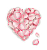 Heart shape of pink rose petals isolated on a white background. Valentines Day Card. Vector Royalty Free Stock Images