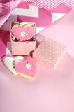 Heart shape pink and white cookies Royalty Free Stock Photo