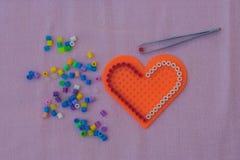 Heart shape pixel art. stock image