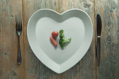 Heart shape plate diet concept Royalty Free Stock Images