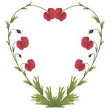 Heart shape with poppies. Heart shape made of poppy flowers and leafs vector illustration