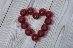 Heart shape praline for Valentine`s day Royalty Free Stock Photo