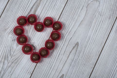 Heart shape praline for Valentine`s day Stock Images