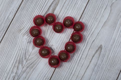 Heart shape praline for Valentine`s day Stock Photography
