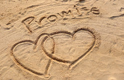 The heart shape and promise text drawn. Stock Photo