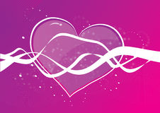 Heart shape on purple background. Illustration of a heart shape on a purple background, with white wave-like ribbons crossing the heart stock illustration