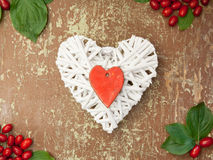 Heart shape and red berries Stock Photo