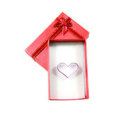 Heart shape in red box isolated Royalty Free Stock Photos
