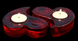 Heart shape red candles Stock Image