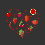 Heart shape with red fruits and vegetables Royalty Free Stock Photo