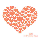Heart shape from red hearts on white background vector illustration. Royalty Free Stock Photography