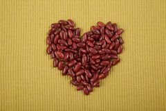 Heart shape of red kidney beans Royalty Free Stock Photos