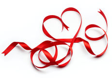 Heart shape red ribbon Stock Photography