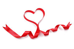 Heart shape red ribbon Stock Photo