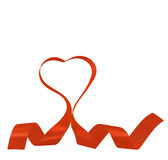 heart shape red ribbon and bow Royalty Free Stock Photo