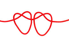 Heart shape from red rope Royalty Free Stock Images
