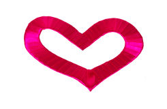 Heart shape of red satin ribbon Royalty Free Stock Photo