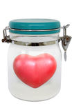 Heart shape red in a sealed jar Stock Photo