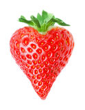 Heart shape red strawberry Royalty Free Stock Images