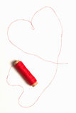 Heart shape from red thread Stock Images