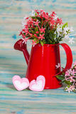 Heart shape with red watering can.Still life Stock Images