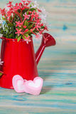 Heart shape with red watering can.Still life Stock Photography
