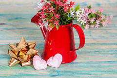 Heart shape with red watering can.Still life Royalty Free Stock Photography