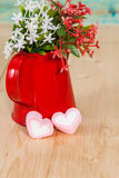 Heart shape with red watering can.Still life. Of love Royalty Free Stock Images