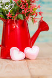 Heart shape with red watering can.Still life. Of love Stock Photo