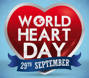 Heart Shape with Reminder Date Ribbon for World Heart Day, Vector Illustration Royalty Free Stock Images