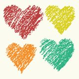Heart shape retro color art strokes crayon hand drawing set. Group of Valentine day funny love heart. Stock Image