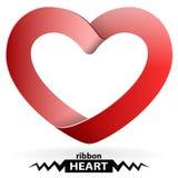 Heart shape ribbon. Isolated on white Stock Image