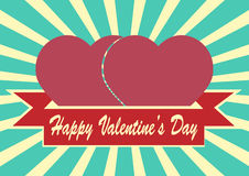 Heart shape and ribbon on Sunrays Illustration with Valentine's Stock Photos