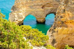 Heart shape rock formations Praia de Marinha Algarve Portugal stock photography
