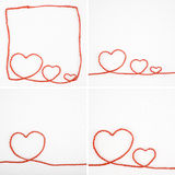 4 Heart shape rope on white fabric Royalty Free Stock Photo