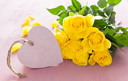 Heart shape with roses Stock Photos