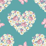 Heart shape. Roses, chamomile and forget-me-not flowers, butterfly on blue background. Seamless pattern. vector illustration