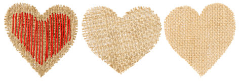 Heart Shape Sackcloth Patch, Valentine Day Burlap Object Stock Image