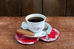 Heart shape Saint Valentine's Cookie with cup of coffee Stock Photography