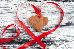 Heart shape Saint Valentine's gingerbread Cookies Royalty Free Stock Image