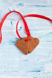 Heart shape Saint Valentine's gingerbread Cookies Royalty Free Stock Images