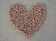 Heart shape on sand. Royalty Free Stock Photos